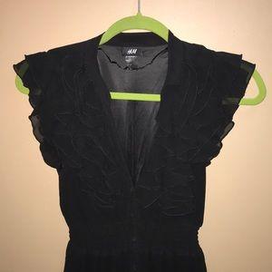 H&M v-neck black lace dress
